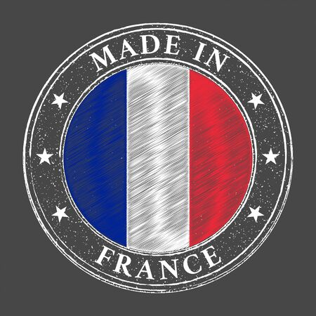 Made in France flag grunge stamp. Vector illustration
