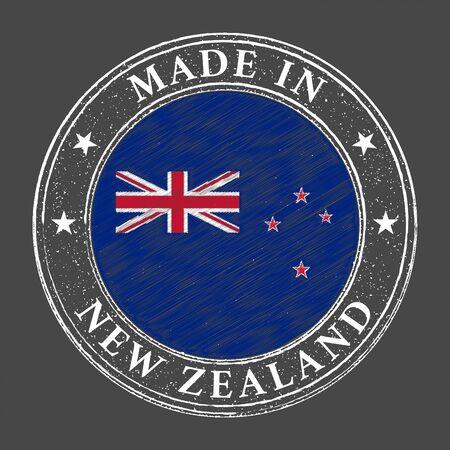 Made in New Zealand flag grunge stamp. Vector illustration