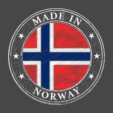 Made in Norway flag grunge stamp. Vector illustration Ilustrace