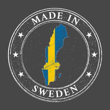 Made in Sweden map flag grunge stamp. Vector illustration.