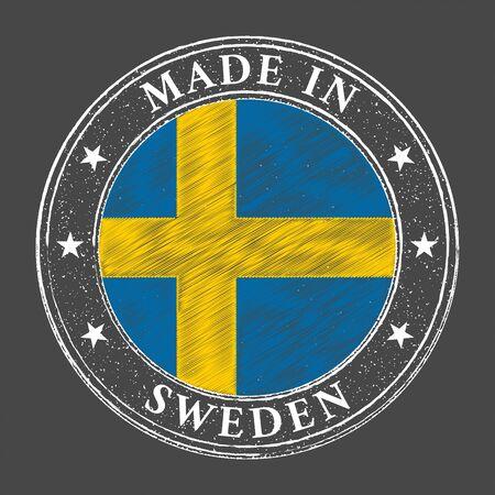 Made in Sweden flag grunge stamp. Vector illustration 일러스트