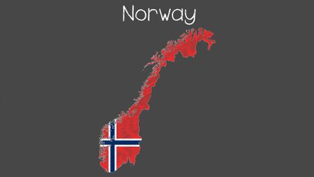 Norway map flag chalkboard style vector illustration.