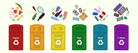 Garbage waste sorting, disposal, management, recycling vector illustration  guide.