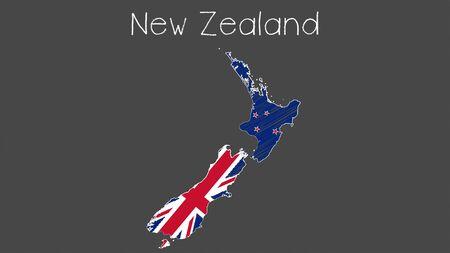 New Zealand map flag chalkboard style vector illustration.