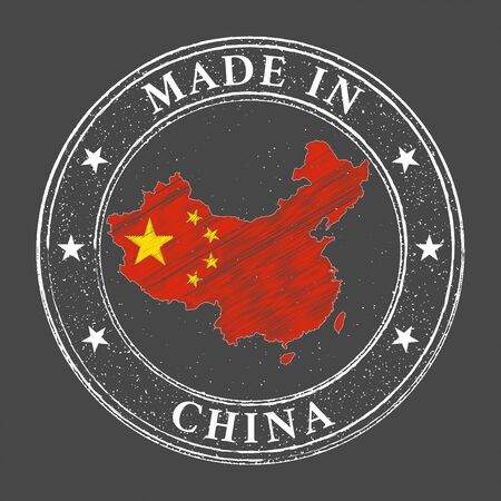 Made in China map flag grunge stamp. Vector illustration.