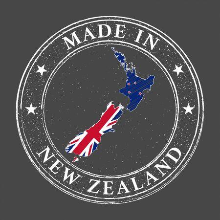 Made in New Zealand map flag grunge stamp. Vector illustration. Illusztráció