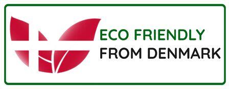 Eco friendly from Denmark badge. Flag in leaf shapes illustration. Illusztráció