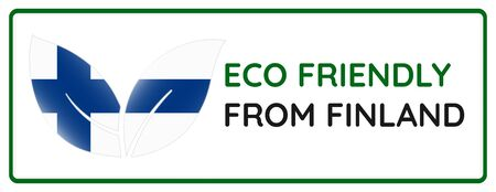 Eco friendly from Finland badge. Flag in leaf shapes illustration.