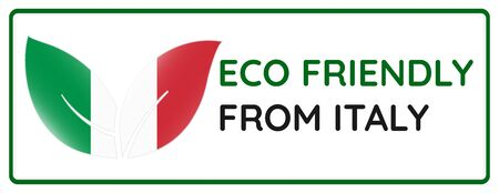 Eco friendly from Italy badge. Flag in leaf shapes illustration.