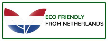 Eco friendly from Netherlands badge. Flag in leaf shapes illustration.