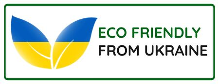 Eco friendly from Ukraine badge. Flag in leaf shapes illustration.