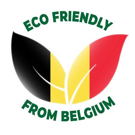 Eco friendly from Belgium badge. Flag in leaf shapes illustration.
