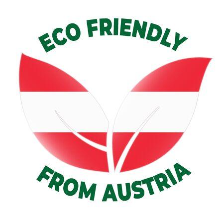 Eco friendly from Austria badge. Flag in leaf shapes illustration.