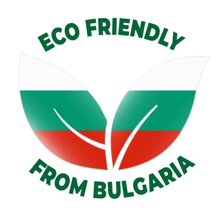 Eco friendly from Bulgaria badge. Flag in leaf shapes illustration.