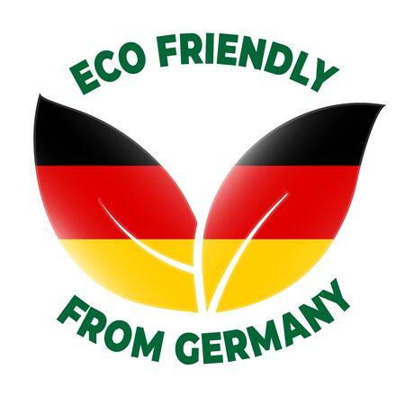 Eco friendly from Germany badge. Flag in leaf shapes illustration. Illusztráció