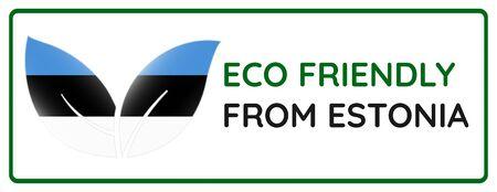 Eco friendly from Estonia badge. Flag in leaf shapes illustration.