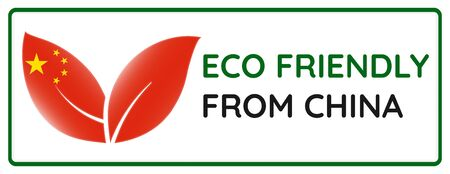 Eco friendly from China badge. Flag in leaf shapes illustration.