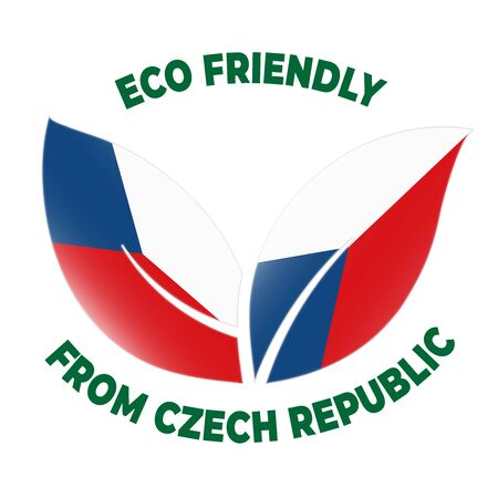Eco friendly from Czech Republic badge. Flag in leaf shapes illustration.