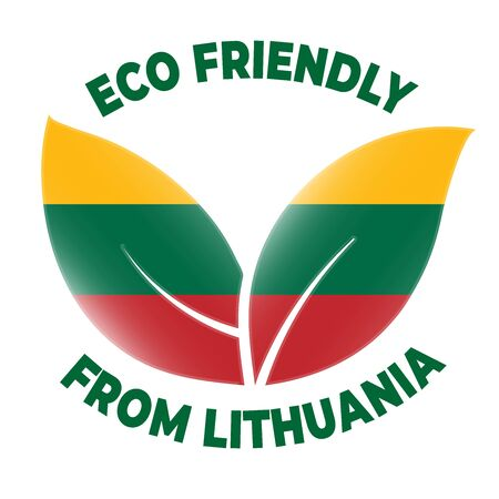 Eco friendly from Lithuania badge. Flag in leaf shapes illustration.