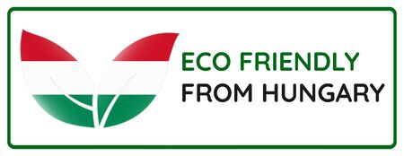 Eco friendly from Hungary badge. Flag in leaf shapes illustration.