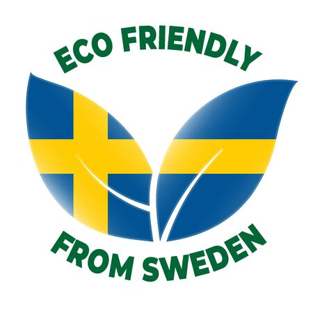 Eco friendly from Sweden badge. Flag in leaf shapes illustration.