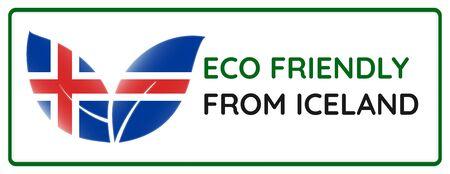 Eco friendly from Iceland badge. Flag in leaf shapes illustration.