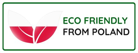 Eco friendly from Poland badge. Flag in leaf shapes illustration. Ilustrace