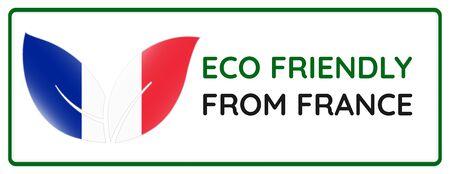 Eco friendly from France badge. Flag in leaf shapes illustration. Illusztráció