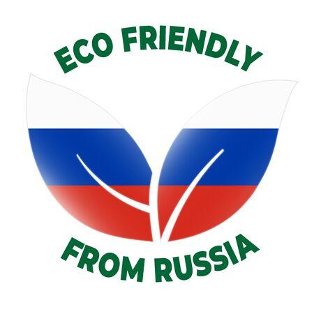 Eco friendly from Russia badge. Flag in leaf shapes illustration. Illusztráció