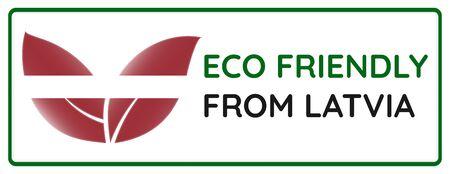 Eco friendly from Latvia badge. Flag in leaf shapes illustration.