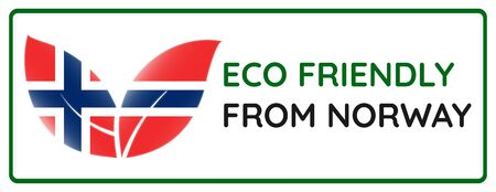 Eco friendly from Norway badge. Flag in leaf shapes illustration.