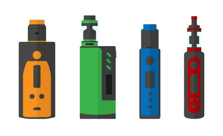 Colorful set of e-cigarettes icons. 4 different box mods with dripping atomizer and tanks. Vector illustration EPS10.