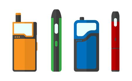 Colorful set of e-cigarettes icons. 4 different pod mods. Vector illustration EPS10.