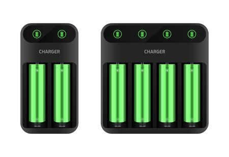 Battery charger concept. Two and four slots, display with information. Vector illustration EPS10. Illusztráció
