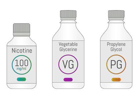 PG, VG and Nicotine bottles. Components for DIY vaping liquid. Vector illustration EPS10. Illusztráció