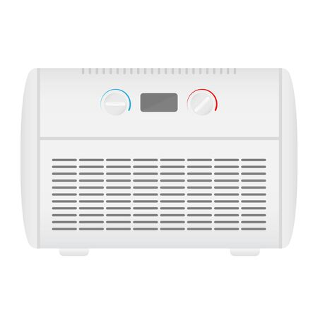 Electric heater icon. White heater on stands in flat style with. Vector illustration EPS10.