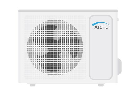Outdoor air conditioner icon. White modern AC on white background. Vector illustration EPS10.