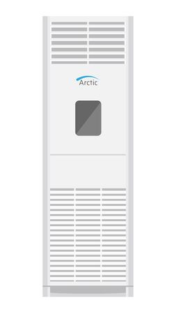 Floor air conditioner icon. White modern AC on white background. Vector illustration EPS10.