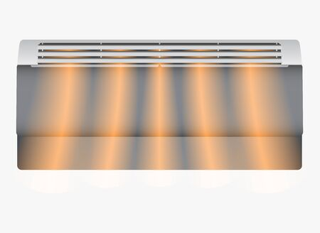 Electric air heater background. Modern heater and hot air flow in realistic style. Vector illustration EPS10.
