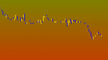 Candlestick chart on color background chart of stock market investment trading.