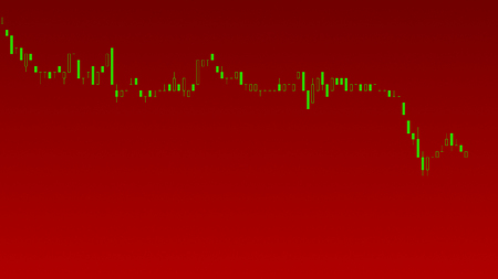 Abstract financial trading graphs. Background with currency Candlestick schedule. Stock market chart uptrend downtrend. Market Analyze. Bullish Bearish point. Duotone color. Stock Photo