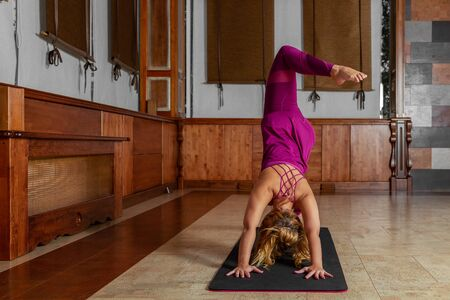Yoga girl. Healthy body care. wooden background. Young sporty woman stretching. Healthy lifestyle. Yoga practice. Fitness center.