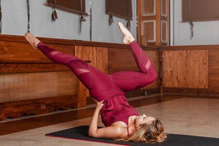 Yoga girl. Female sport women workout exercise.