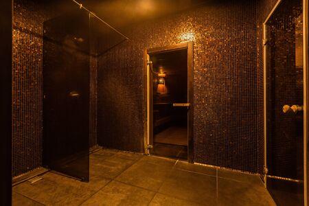 Hamam sauna. Bathroom interior. Interior of Turkish sauna, classic Turkish hammam at spa center. Spa, relaxation and resort health care center interior.
