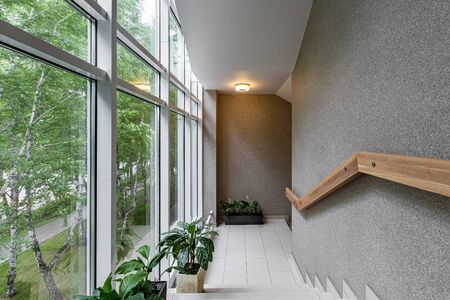 Stylish with green staircase window on white background. Perspective wall. Interior design wall. Modern stylish apartment. Bright interior.