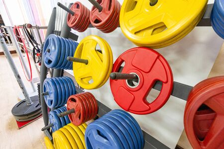 Fitness equipment. Fitness workout. Sports background. Crossfit fitness, bodybuilding concept. Fitness gym background. Power concept. Sport concept.
