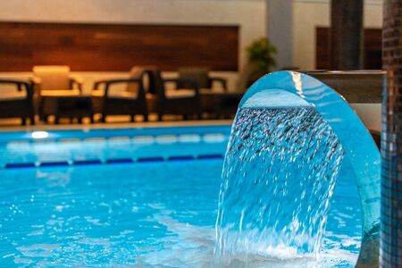Interior swimming pool in luxury hotel spa center Stok Fotoğraf