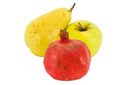 Fresh fruit isolated on white background