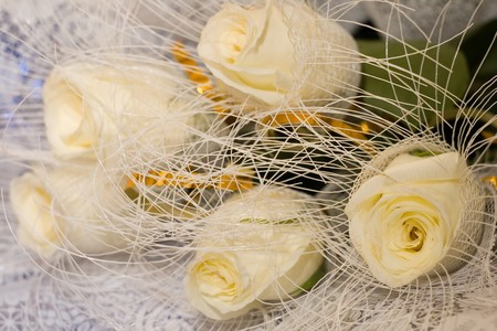 White roses in the bouquet