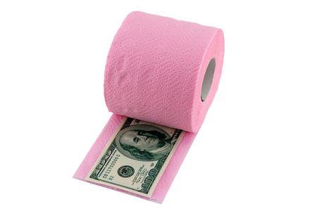 One hundred dollars in toilet paper
